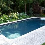 18x36' Rectangle with Black Granite Liner.  Swim Lounge placed on far end. Stamped Concrete Deck