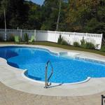 20x41' Mountain Pond, Stone Braid Prism Liner.  10' Roman Stair in White with White Standard Coping.  3' Concrete Patio, surrounded by Pavers